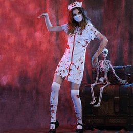 nurses uniform white 2019 - Halloween Cosplay Masquerade Nurse Ghost Costumes Women White Bloody Ghost Nurse Uniforms Carnival Roleplay Costumes W88