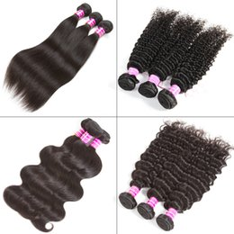 Discount human hair machine weft - Peruvian Straight Human Hair Bundles Unprocessed Brazilian Virgin Body Deep Water Wave Human Hair Weave Kinky Curly Huma