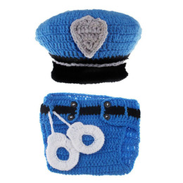 diapers boy NZ - Newborn Policeman Outfit,Handmade Crochet Baby Boy Girl Little Policeman Hat Diaper Cover Set,Infant Halloween Costume Photo Prop