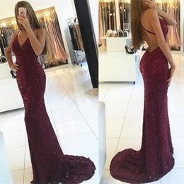 White shiny lace mermaid dress online shopping - Shiny Sequins Lace Mermaid Prom Dresses New Sexy V neck Straps Backless Formal Evening Dresses Long Cheap Party Gowns