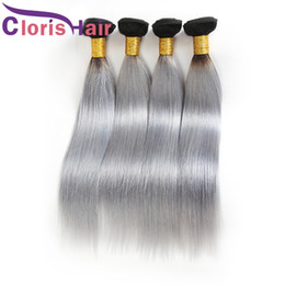 human hair two tone gray NZ - Colored Two Tone 1B Gray Raw Indian Virgin Human Hair Bundles Dark Roots Silver Grey Ombre Weaves Silk Straight Hair Extensions For Sale