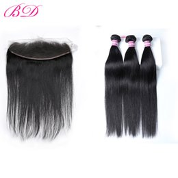 China BD Hair Brazilian Peruvian Indian Malaysian Straight Hair Weave Bundles Lace Frontal Remy Human Hair 3 Bundles With Frontal Hot Sale cheap human hair bundle sales suppliers