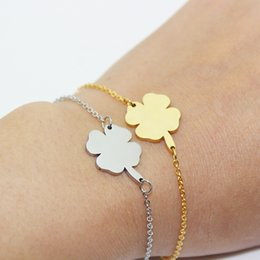 $enCountryForm.capitalKeyWord NZ - Four Leaf Clover Bracelets Hot Sales Stainless Steel silver gold color Good Luck Bracelet Women gift jewelry wholesale