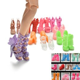Toy Bows Australia - Wholesale-20Pcs lot New Doll Shoes Bandage Bow High Heel Sandals for s Accessories Toys Fixed Styles Color Random
