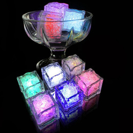 Ice Party Decorations Australia - 12pcs Colorful flash led ice light glow in the dark auto luminous ice cubes christmas Wedding Festival party Decoration bar tool