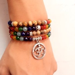 Charm Pictures NZ - 7 Chakra Healing Balance Bracelet Picture Stone Gem Yoga Reiki Prayer Stone Charms 108 Bead Bracelet Multilayer Bangle Women Men