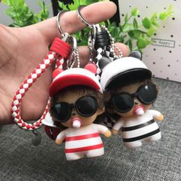 $enCountryForm.capitalKeyWord Australia - High Quality Monchichi Charms Keychains Pendants Lovers Couples Key Ring Holder With Belt Bell 8CM Monchichi Ornaments Pendants Accessory
