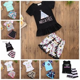 $enCountryForm.capitalKeyWord Canada - Trendy Ruffle Shorts Outfits for Girls Pom pom Summer Shorts and Tees Set Long Live Summer Graphic Tshirt and Shorts Set For Sale