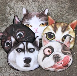 Coin purses women online shopping - 3D Cute Cat Dog Face Printing Zipper Coin Purse Women Cartoon Coin Wallet Ladies Makeup Storage Bag OOA4606