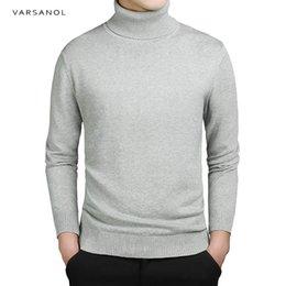 Branded Men Sweater NZ - Varsanol Brand New Casual Turtleneck Sweater Men Pullovers Autumn Fashion Style Sweater Solid Slim Fit Knitwear Full Sleeve Coat