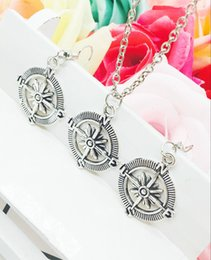 $enCountryForm.capitalKeyWord NZ - 2018 New Popular Hot Sell Antique Silver Navigation Compass Charms Pendant Necklace Earrings Set Creative Women&Men Jewelry Holiday Gift