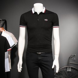 Korean Black Polo Shirt Canada - 2018 Men's Tide Brand T-Shirt Korean Slim Lapel Short-Sleeve Polo Shirt Youth Pop Half-Sleeve Business Casual T-Shirt