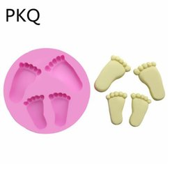 Silicone Handmade Tools Australia - 2PC   3D Small footprints Handmade Silicone Cake Mold Cartoon Cake Decorating Tools Soap Mold Baby Shower Party DIY Decoration