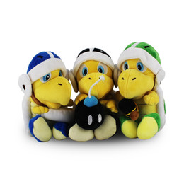 tv turtles UK - 3pcs set Anime Games Super Mario Koopa Troopa Hammer Bomb Boomerang Koopa Turtle Plush Toy Plush Doll