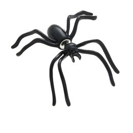 wholesale charms UK - A Black Spider Earrings Women's Personality Double-sided Earrings Trends Spider Earrings Puncture Funny Alternative Halloween Ornament Charm