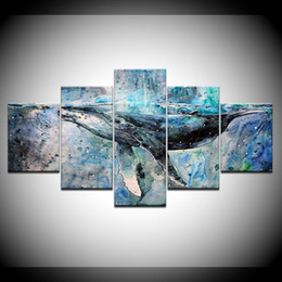 Discount whale painting - 5 Pieces Canvas abstract watercolor painting whale Prints Painting Wall Art Modular Picture Modern Decorative Paintings