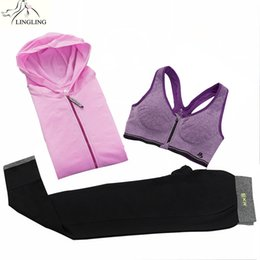Yoga Pants Jacket UK - 3 Piece Set Girl's Sports Suits Yoga Set Women Sports Suit Women Hooded Jacket and Bra and Pants Workout Sportswear Tracksuit