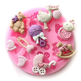 Discount baby cake moulds - 1PC Silicone Cake Decorating Tools Baby Shower Sugar Fondant Chocolate Mold Soap Candle Moulds Sugar Craft Tools BakeWar