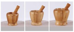 Wholesale Natural Bamboo Household Garlic Pepper Spice Pounder Mortar and Pestle Press Fruit Crusher Handmade Size