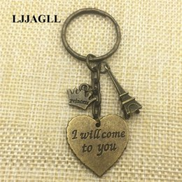Discount resin crosses for - I Will Come To You Heart Charm Metal Alloy Keychains 2pcs Gift For Women Cross Angel Sun Charms Pendant Keyring Diy Jewe