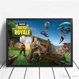 floral oil paintings 2018 - The Fortress Night Poster Fortnite Periphery Comic Game Bedroom Modern Practical Wall Painting Frameless Easy Carry 5 99