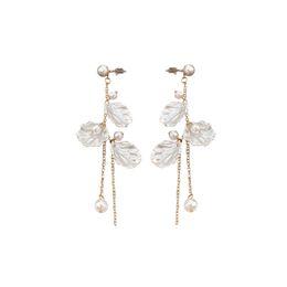 China SANSUMMER 2018 New Fashionable Beauty FAIRIES 3 Shell Shells Plastic Pearl Long Streamline Chain Ear Studs Lady Earrings 5392 cheap long chain pearl earrings suppliers