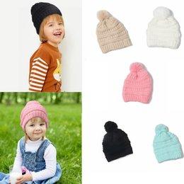 d1727089613 Children beaCh hats online shopping - Kids Beanie Colors Knitted Pom Pom Hats  Winter Woolen Cap