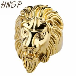 gold animal rings for men 2019 - HNSP Punk Titanium Steel Lion head Animal Finger Rings For Men Male Gold Silver Color Anel 8-12 US big size cheap gold a