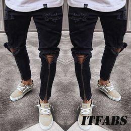 Skinny Legs Jeans Canada - Plus Size Jeans Men Fear Of God Ripped Skinny Jeans Men Slim Fit Urban Straight Zipper Leg Mens Pencil Cool Street Wewar
