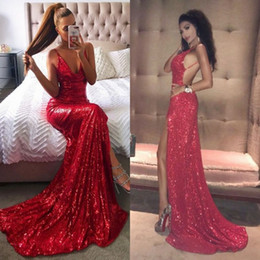 Cheap long strap prom dresses online shopping - 2018 Sexy Criss Cross Backless Red Sequined Prom Dresses Mermaid Spaghetti Straps V Neck Long Split Evening Gowns Cheap
