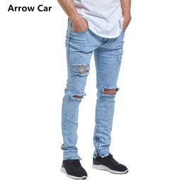 $enCountryForm.capitalKeyWord Canada - European Style Fashion Ripped Jeans Men High Street Trend Zipper Decorative Men's Jeans Skinny Solid Hole Pants M