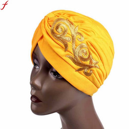 turban hat men NZ - Spring Summer Women Hat 2018 Female Embroidery Cancer CheHat Beanie Scarf Turban Head Wrap Cap gorros mujer invierno