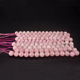 semi precious stone crystals Australia - 1 Strand Natural pink Stone Crystal semi-precious stones balls rose quartz Round Loose Beads Necklace Bracelet DIY Jewelry