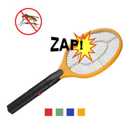 Wholesale Batteries Operated Hand Racket Electric Mosquito Swatter Insect Home Garden Pest Bug Fly Mosquito Zapper Swatter Killer