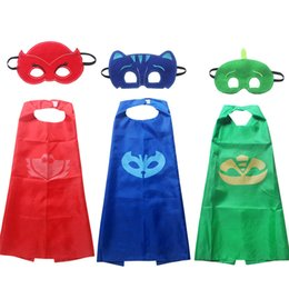 China Kids Halloween Party Costume 3 Colors PJ Masks Cloak + Mask 2 Pieces Sets 3-10 year old Kids Halloween Cosplay Gifts Kids Toys LA977 cheap special holiday gifts suppliers