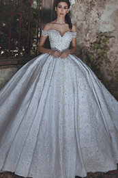 $enCountryForm.capitalKeyWord Australia - Glitters Corset Vintage Empire Princess Ball Gown Off Shoulder Crystal Ivory Satin Beads Lace Wedding Dress Appliques High Quality Sparkly