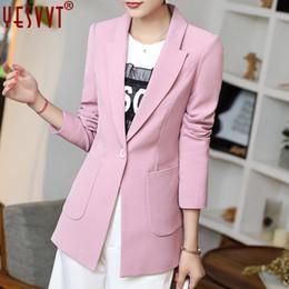 Women S Velvet Jacket Coat NZ - yesvvt autumn women blazers and jackets 2017 full sleeve blazer women black long blazer women casual coat size s m l xl xxl xxxl L18101303