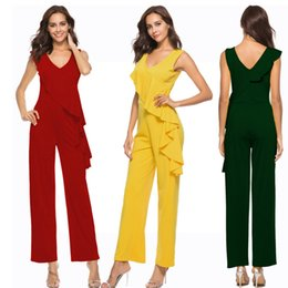 fashion party jumpsuits NZ - Plus size women summer Ruffle wide leg jumpsuit romper 2018 sexy v-neck backless elagant tunic fashion long pant party overalls