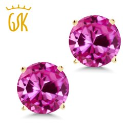 sapphire studs earrings UK - 2.00 Ct Round 6mm Pink Created Sapphire 14K Yellow Gold Stud Earrings