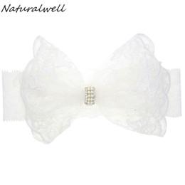 $enCountryForm.capitalKeyWord UK - Naturalwell Baby Bandage Bow Hairband For Christening Flower Girl White Hair Band Newborns Lace Headband With Pearls HB204S