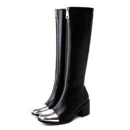 68de1feb2fa1 Fashion black silver toe patchwork zip back chunky heel knee high boots  women designer shoes size 35 to 39
