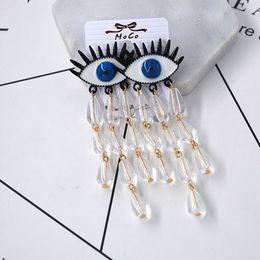 $enCountryForm.capitalKeyWord NZ - Sexy vintage punk the devil ponder evil blue eye earrings brand designer tassels earrings pendant blue women jewelry D50