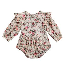 2928a57a8 Baby Girls Holiday Outfits UK - Infant Baby Girl Kids Long Sleeve Floral  Printed Jumpsuit Outfits