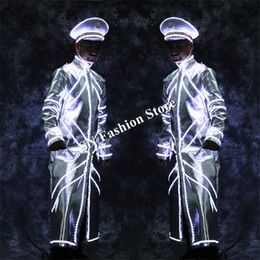Discount glow party clothes - LZ47 LED luminous costumes dj clothes bar party stage show wears suit men led coat disco dancer Windbreaker glowing prop