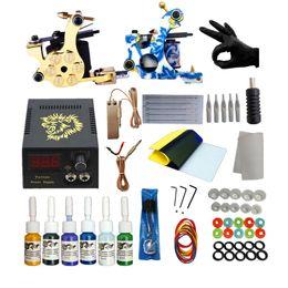 $enCountryForm.capitalKeyWord NZ - Complete Tattoo Kit 2 Coils Guns Machine Set 6 Colors Tattoo Ink Supplies Power Supply Tattoo Kits