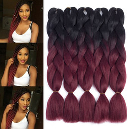 Wholesale Two Tone Ombre Jumbo Braid Hair Extension For Braids Black to Burgundy Kanekalon Jumbo Box Braiding Hair