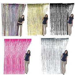 Black Silver Party Decorations NZ - High Quality Gold  Red  Blue  Silver  Fushiatinsel Shimmer Foil Door Curtain Tinsel Curtain Birthday Halloween Party Decoration
