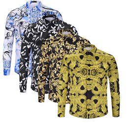 polka dot dress shirts for men 2018 - 2018 Luxury Men Shirt Brand New Medusa Retro Striped Dress shirts Slim Fit cotton shirts for men black print casual Busi