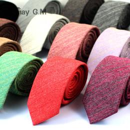 Wholesale Cotton Ties NZ - 2017 Fashion Casual Cotton Solid Mens Ties for Men 6CM Width Narrow Wedding Business Groons Necktie Fresh Neck Tie Neckwear
