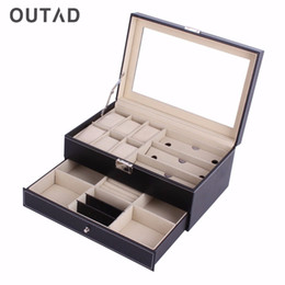 Big Storage Boxes Australia - Leather Acrylic Top Double Layers Jewelry Watch Box Casket Storage Big Capacity Slot Multifunctional Case Container Boxes